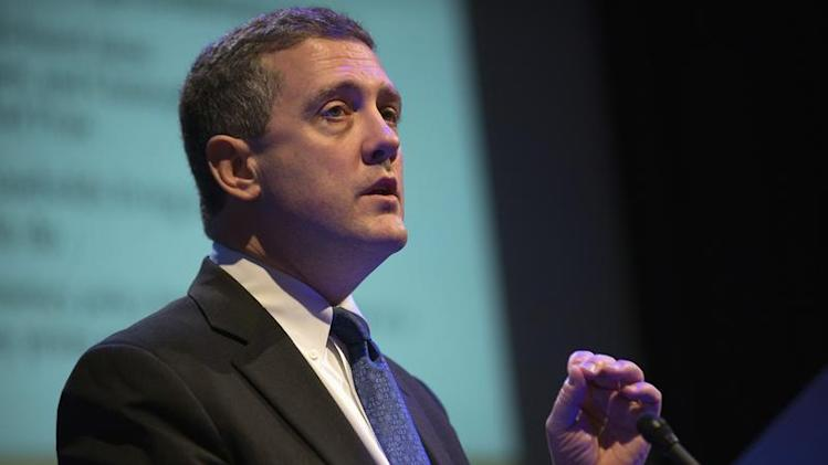 """The Federal Reserve Bank of St. Louis' President and CEO James Bullard speaks during the """"Hyman P. Minsky Conference on the State of the U.S. and World Economies,"""" in New York"""