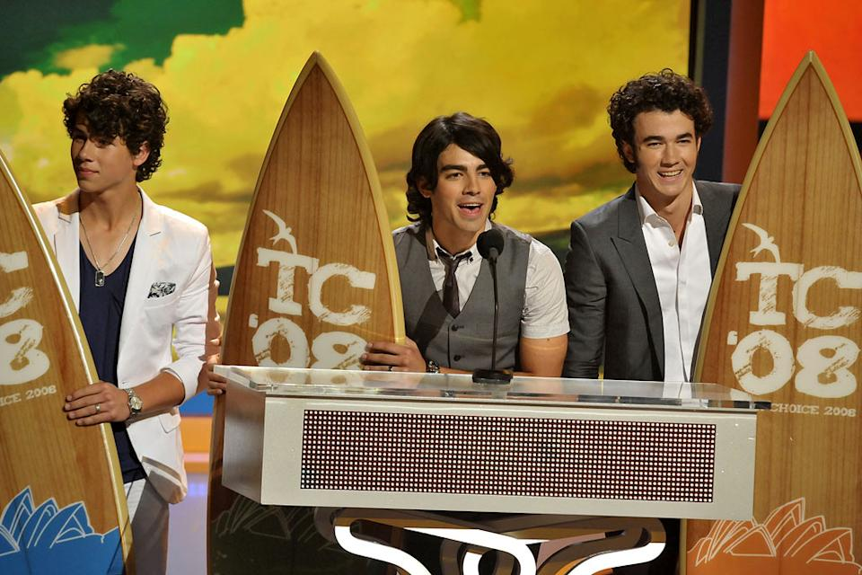 The Jonas Brothers onstage during the 2008 Teen Choice Awards at Gibson Amphitheater on August 3, 2008 in Los Angeles, California.