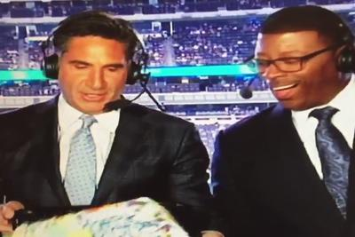 Giants broadcaster presents co-host with birthday cake, drops it on the floor in front of him