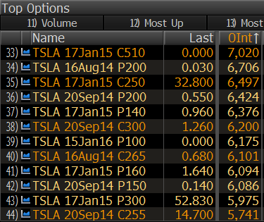 Tesla 12 through 24 largest strikes of options open interest from Bloomberg