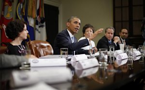 President Barack Obama speaks during his meeting in …