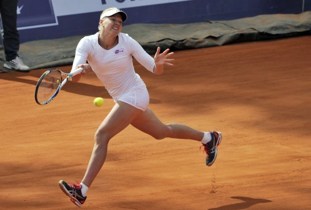 Kanepi returns to Peng in their final match of the WTA Brussels Open tennis tournament