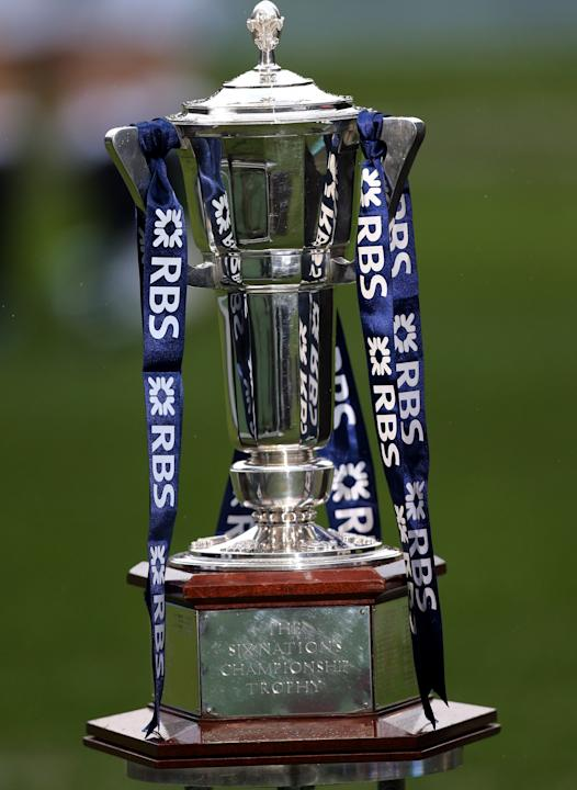 A general view of the Six Nations trophy, ahead of the Six Nations rugby union international match between Scotland and England at Murrayfield, Edinburgh, Scotland, Saturday Feb. 8, 2014. (AP Photo/Sc