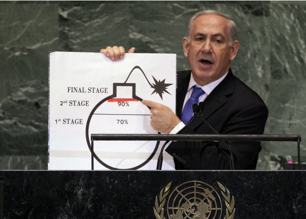 Prime Minister Benjamin Netanyahu of Israel shows an illustration as he describes his concerns over Iran's nuclear ambitions during his address to the 67th session of the United Nations General Assemb