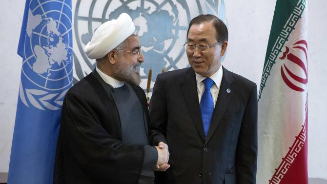 United Nations Secretary-General Ban meets Iran's President Rohani during the U.N. General Assembly in New York