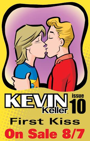 """This comic book image released by Archie Comics shows issue 10 of """"Kevin Keller"""" featuring openly-gay character Kevin Keller, right, kissing his boyfriend Devon. The issue will go on sale on Aug. 7. (AP Photo/Archie Comics)"""