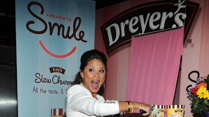 COMMERCIAL IMAGE -   Mom-to-be Vanessa Lachey indulged in a sweet treat of Edy's Slow Churned Light Ice Cream, Thursday, Aug. 2, 2012 in New York., while helping the brand give away scoops to raise money for Operation Smile. (Photo by Diane Bondareff/Invision for Edy's Slow Churned/AP Images)