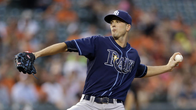 FILE - In this Tuesday, Sept. 1, 2015 file photo, Tampa Bay Rays starting pitcher Drew Smyly throws to the Baltimore Orioles during a baseball game in Baltimore. Tampa Bay Rays pitcher Drew Smyly has won baseball's first salary arbitration case this year, Thursday, Feb. 4, 2016.(AP Photo/Patrick Semansky, File)