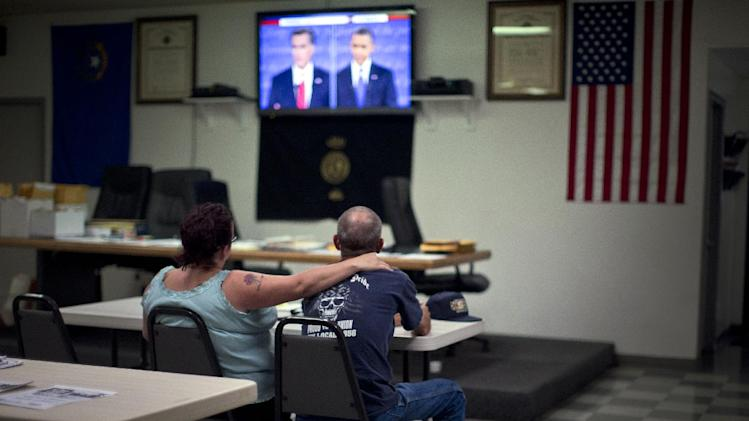 Dawn, left, and Randy Cornell, watch the presidential debate at the United Steelworkers Local 4856 Union Hall Wednesday, Oct. 3, 2012, in Henderson, Nev. President Barack Obama and Republican presidential candidate Mitt Romney faced off, Wednesday night, in their first debate. (AP Photo/Julie Jacobson)