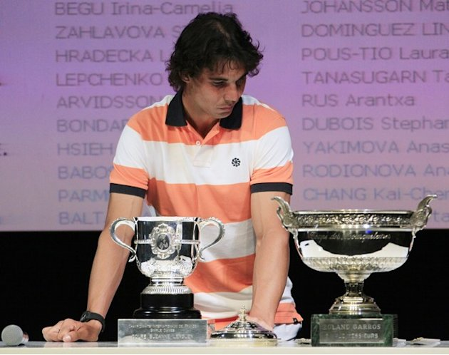 Spanish Player Rafael Nadal Takes Part In The Draw Of The Tennis Women's Single Of The Roland-Garros Tennis Tournament AFP/Getty Images