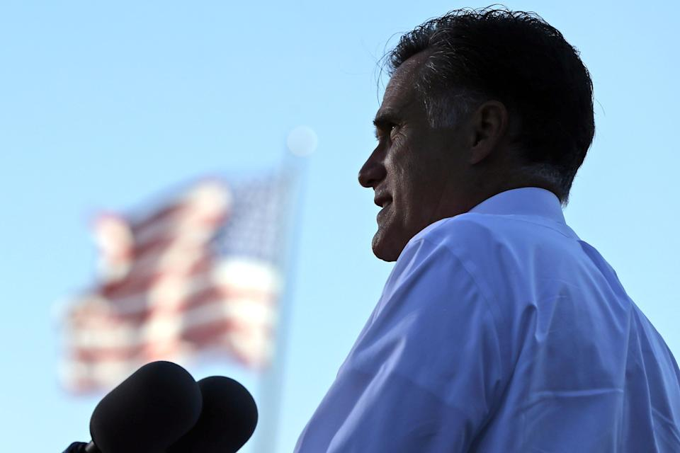 Republican presidential candidate and former Massachusetts Gov. Mitt Romney campaigns at Worthington Industries, a metal processing company, in Worthington, Ohio, Thursday, Oct. 25, 2012. (AP Photo/Charles Dharapak)
