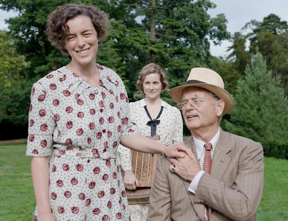 "FILE - This undated publicity film image released by Focus Features shows, from left, Olivia Williams as Eleanor Roosevelt, Laura Linney as Daisy, and Bill Murray as Franklin D. Roosevelt in a scene from ""Hyde Park on Hudson."" (AP Photo/Focus Features, Nicola Dove, File)"