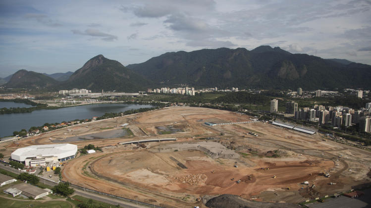 The Olympic Park for the 2016 Olympics is seen under construction in the area previously occupied by the Jacarepagua Autodrome in Rio de Janeiro, Brazil, Thursday, April 11, 2013. The Olympic Park will be at the heart of the Games, hosting the competitions for 10 Olympic sports (basketball, judo, taekwondo, wrestling, handball, hockey, tennis, cycling, aquatics and gymnastics). The Main Press Centre (MPC) and the International Broadcasting Centre (IBC) will also be built on the site.(AP Photo/Felipe Dana)