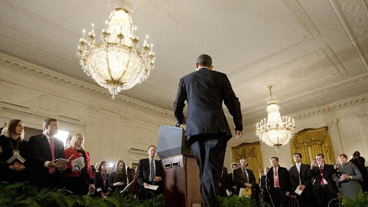 President Barack Obama walks to the podium as he arrives for a news conference in the East Room of the White House, Wednesday, Nov. 14, 2012 in Washington. (AP Photo/Carolyn Kaster)