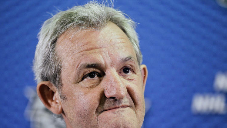 Los Angeles Kings coach Darryl Sutter answers questions from the media during a news conference at the NHL hockey Stanley Cup finals, Tuesday, June 5, 2012, in Los Angeles. The Kings lead the New Jersey Devils 3-0 in the best-of-seven games series. Game 4 is scheduled for Wednesday.  (AP Photo/Julie Jacobson)