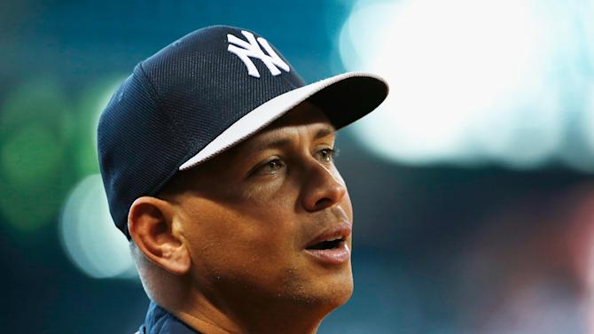 Alex Rodriguez of the New York Yankees works out on the field before a game on September 27, 2013 in Houston, Texas
