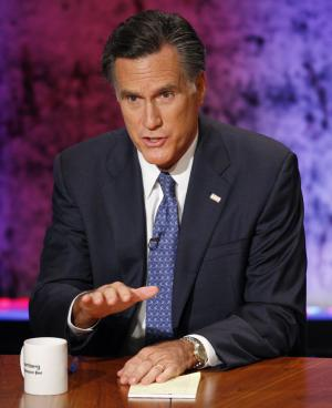 Republican presidential candidate former Massachusetts Gov. Mitt Romney speaks during a Republican presidential debate at Dartmouth College in Hanover, N.H., Tuesday, Oct. 11, 2011. (AP Photo/Daniel Acker, Pool)
