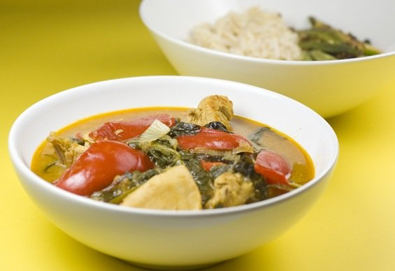 Curried Chicken in Coconut Milk with Tomatoes, Mixed Greens and Bell Peppers