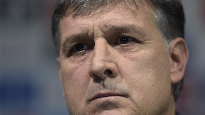 Argentina football squad's newly appointed  coach Gerardo Martino attends a press conference in Ezeiza, Argentina on August 14, 2014