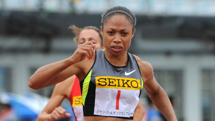 Allyson Felix of the US crosses the finish line in the women's 100m final at the Seiko Golden Grand Prix athletic competition in Kawasaki, Kanagawa prefecture on May 6, 2012. Felix won  the race with a time of 11.22 seconds.        AFP PHOTO / KAZUHIRO NOGIKAZUHIRO NOGI/AFP/GettyImages