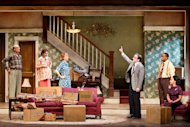 "In this theater image released by O+M Co., from left, Frank Wood, Annie Parisse, Christina Kirk, Jeremy Shamos, Damon Gupton, and Crystal A. Dickinson are shown in a scene from ""Clybourne Park,"" at the Walter Kerr Theatre, in New York. (AP Photo/The O+M Co., Nathan Johnson Photography)"