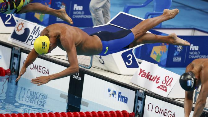 Sweden's Carlsen competes in the men's 50m butterfly heats at the Aquatics World Championships in Kazan