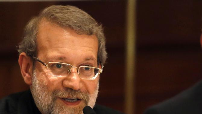 Iranian Parliament Speaker Ali Larijani speaks during a news conference in Beirut