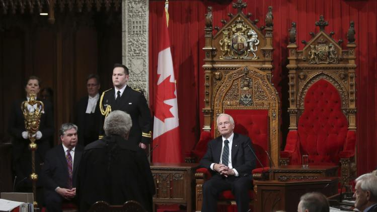 Canada's Governor General David Johnston takes part in a royal assent ceremony in the Senate chamber on Parliament Hill in Ottawa