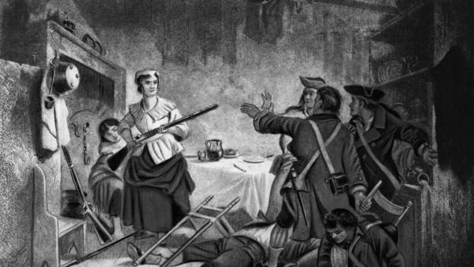 In this undated illustration Nancy Morgan Hart, an American colonist living in Georgia defends her home and children against invading British soldiers during the American Revolutionary War. According to legend, Hart captured and killed British soldiers during the war. (AP Photo)