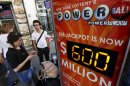 An electronic street sign displays the current value of the Powerball lottery in New York