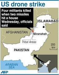 Map showing Miranshah in northwest Pakistan where US missiles killed four militants in a drone strike Wednesday