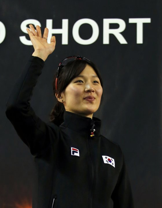 Winner Park of South Korea celebrates during the medal ceremony after the women's 1500m finals at the ISU World Short Track Speed Skating Championships in Debrecen