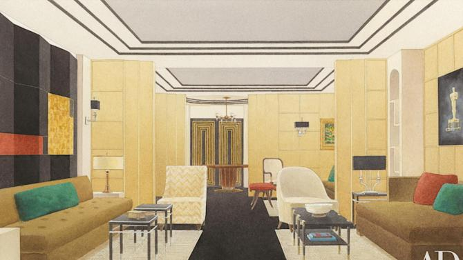 This publicity photo released by Architectural Digest shows a rendering by Ian Espinoza of AD100 interior designer, Madeline Stuart's design for the Greenroom at the 85th Annual Academy Awards. Architectural Digest's Editor in Chief, Margaret Russell, announced on Feb. 5, 2013, that Stuart will create the Oscar Greenroom design this year. This is the 11th consecutive year that Architectural Digest will produce the exclusive backstage lounge for Oscar presenters and honorees. (AP Photo/Architectural Digest, Ian Espinoza)