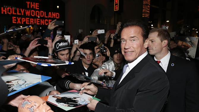 "FILE - In this Jan. 14, 2013 file photo, Arnold Schwarzenegger attends the LA premiere of ""The Last Stand"" at Grauman's Chinese Theatre, in Los Angeles. (Photo by Todd Williamson/Invision/AP, File)"