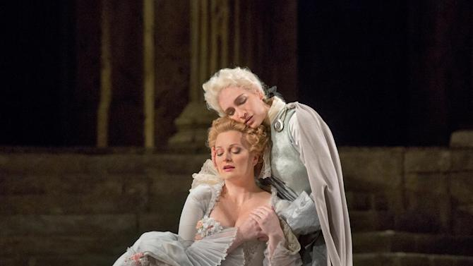"""This Nov. 7, 2012 photo provided by the Metropolitan Opera shows Lucy Crowe as Servilia and Kate Lindsey as Annino in a dress rehearsal of  Mozart's """"La Clemenza di Tito,"""" at the Metropolitan Opera in New York. (AP Photo/Metropolitan Opera, Ken Howard)"""