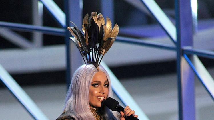 Lady Gaga accepts award at the 2010 MTV Video Music Awards held at Nokia Theatre L.A. Live on September 12, 2010 in Los Angeles, California.