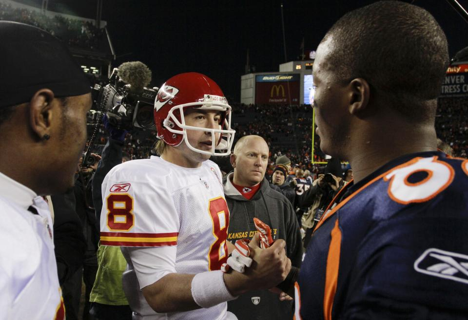 Kansas City Chiefs quarterback Kyle Orton (8) greets Denver Broncos wide receiver Demaryius Thomas (88) after after their NFL football game, Sunday, Jan. 1, 2012, in Denver. Kansas City won 7-3. (AP Photo/Joe Mahoney)