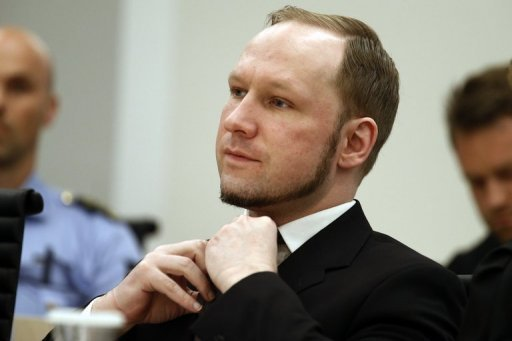 <p>Self-confessed mass murderer Anders Behring Breivik adjusts his tie in court in August 2012. Norway's public broadcaster NRK on Monday published for the first time video footage of right-wing extremist Anders Behring Breivik parking his van bomb that killed eight people in Oslo in July 2011.</p>