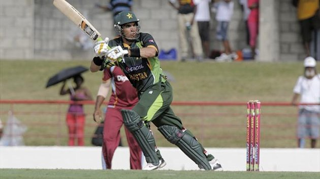 Pakistan captain Misbah-ul-Haq on his way to a half century during the 5th and final ODI West Indies v Pakistan at Beausejour Cricket Ground, St. Lucia (AFP)
