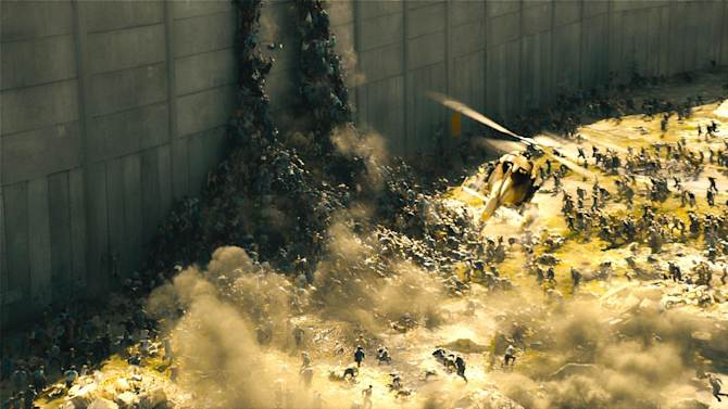 "This publicity image released by Paramount Pictures shows a scene from ""World War Z."" In one of the central scenes of the summer blockbuster movie, Israeli troops bring Palestinian refugees to safety in Jerusalem behind a massive concrete wall. There, the Arabs and Jews embrace, dance and sing - shortly before they are all engulfed by bloodthirsty zombies. (AP Photo/Paramount Pictures)"