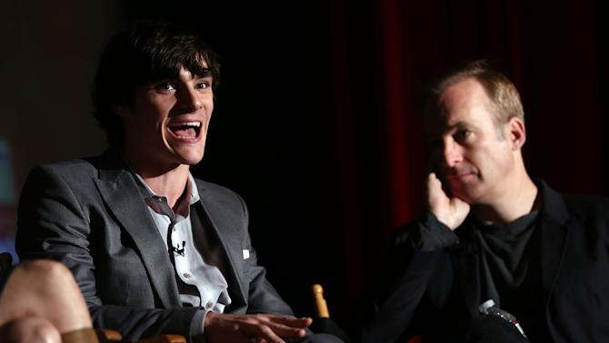 RJ Mitte, left, and Bob Odenkirk are seen onstage during AMC's Breaking Bad ATAS screening and panel at the Academy of Television Arts and Sciences on Saturday, April 13, 2013 in Los Angeles. (Photo by Matt Sayles/Invision for AMC/AP Images)