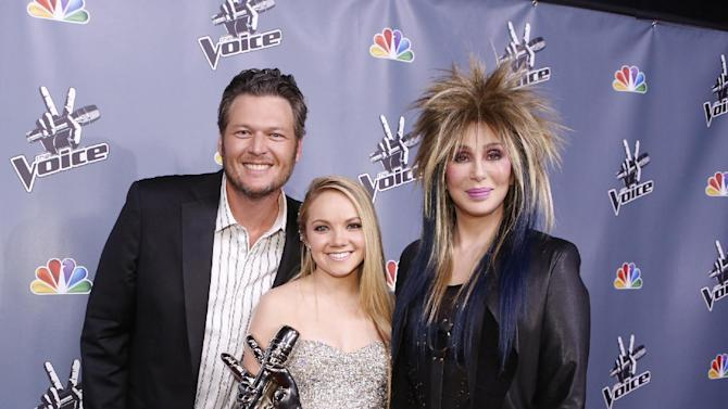 "In this image provided by NBC Blake Shelton, Danielle Bradbery and Cher, right, pose after Bradbery won season-four of ""The Voice"" Tuesday June 18, 2013. Bradbery never had a big singing gig or a vocal lesson. It's also the third win for her coach Blake Shelton. (AP Photo/NBC, Trae Patton)"