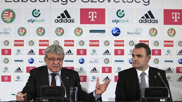 Sandor Csanyi (L), Chairman of the Hungarian Football Association, and Attila Pinter (R), new national coach of the Hungarian national football team, attend a news conference in Telki