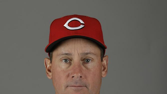 FILE - This Feb. 16, 2013, file photo shows Cincinnati Reds third base coach Mark Berry. Berry has been diagnosed with cancer on his tonsils and neck lymph nodes. The 50-year-old traveled to Cincinnati on Wednesday, March 20, to have a biopsy of his lymph nodes, which was positive. (AP Photo/Paul Sancya, File)