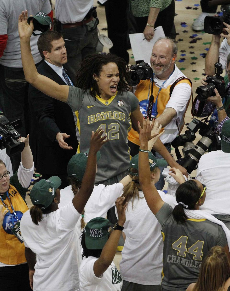 Baylor center Brittney Griner (42) celebrates after the NCAA Women's Final Four college basketball championship game against Notre Dame, in Denver, Tuesday, April 3, 2012.  Baylor won the championship 80-61.(AP Photo/David Zalubowski)