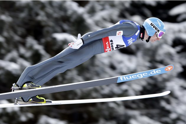 Denifl of Austria soars through the air during the Nordic combined NH Individual Gundersen jumping competition at the FIS Nordic Skiing World championships in Val di Fiemme