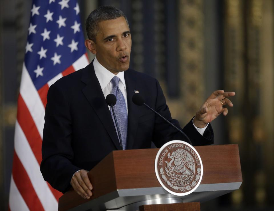 President Barack Obama answers questions during the news conference with Mexico's President Enrique Pena Nieto, at the Palacio Nacional in Mexico City, Thursday, May 2, 2013. (AP Photo/Pablo Martinez Monsivais)
