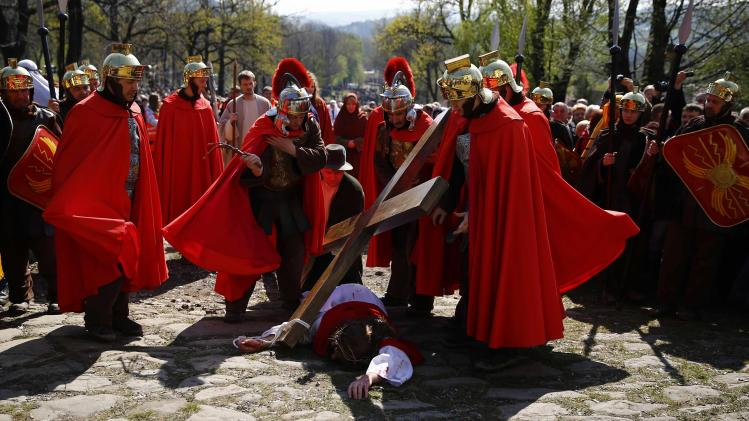 Polish devotees play out the Way of the Cross on Good Friday at the Sanctuary of Kalwaria Zebrzydowska, near Krakow