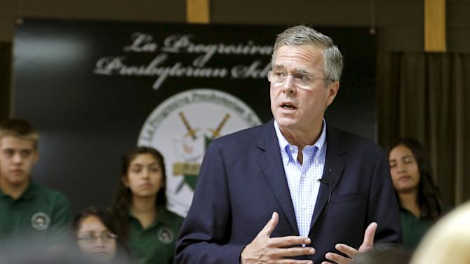 Jeb Bush speaks during a town hall with high school students at La Progresiva Presbyterian School in Miami