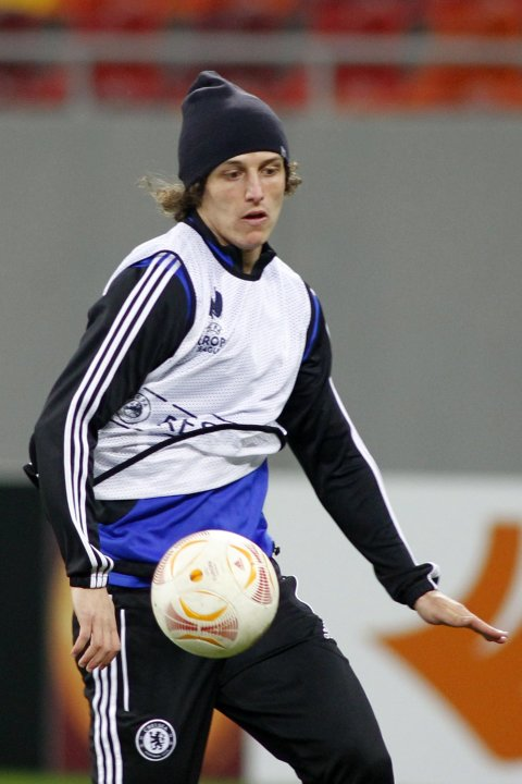 Chelsea's David Luiz attends a training session at the National Arena in Bucharest